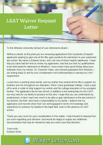 lsat waiver request letter