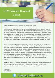 lsat waiver request letter