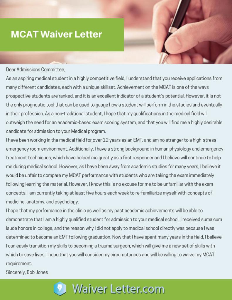 mcat-waiver-letter-sample