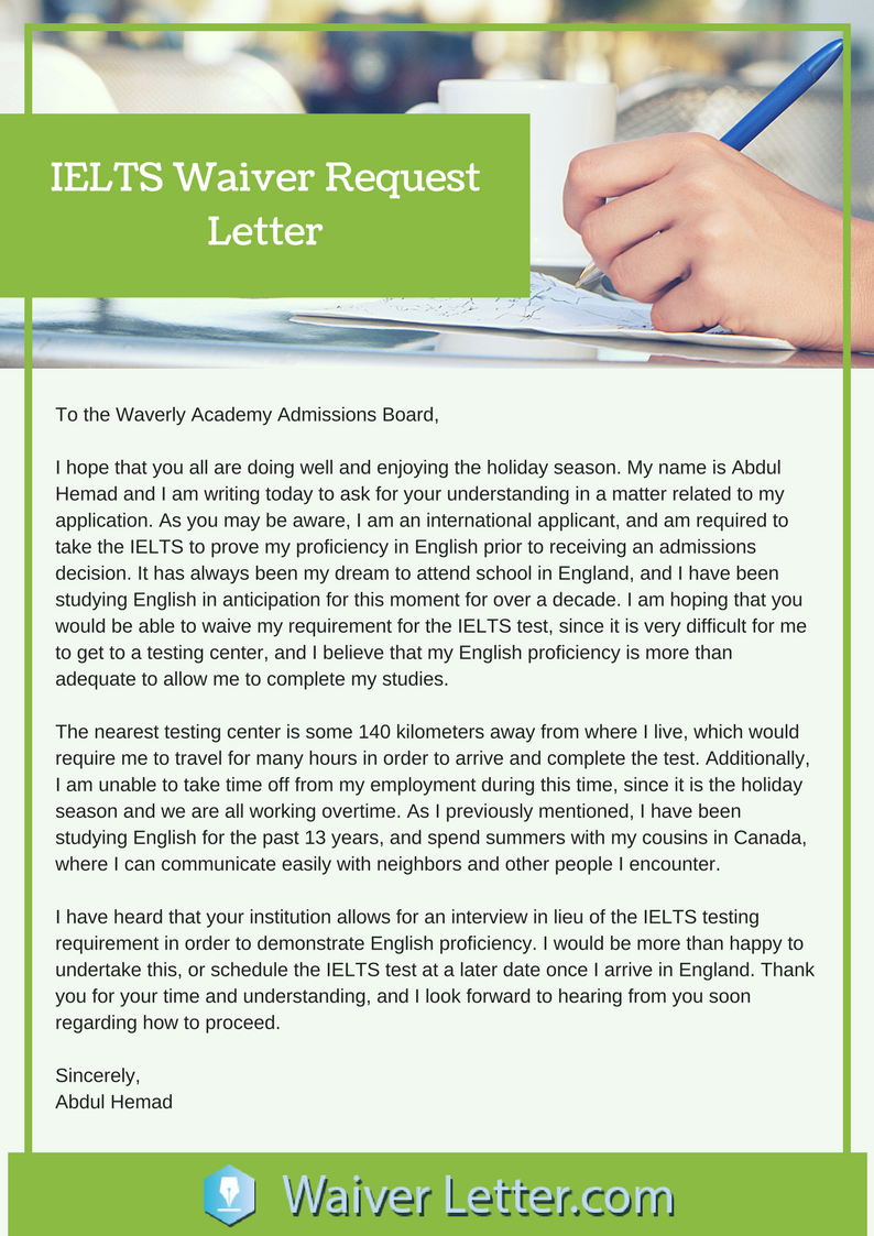 Ielts waiver request letter example best ielts fee letter secrets of ielts waiver letter writing altavistaventures Images
