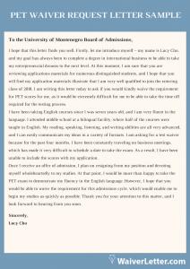 pet waiver request letter sample