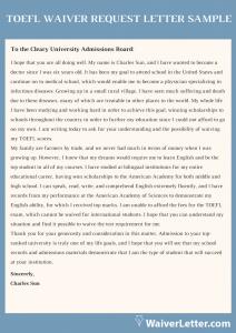 toefl waiver request letter sample