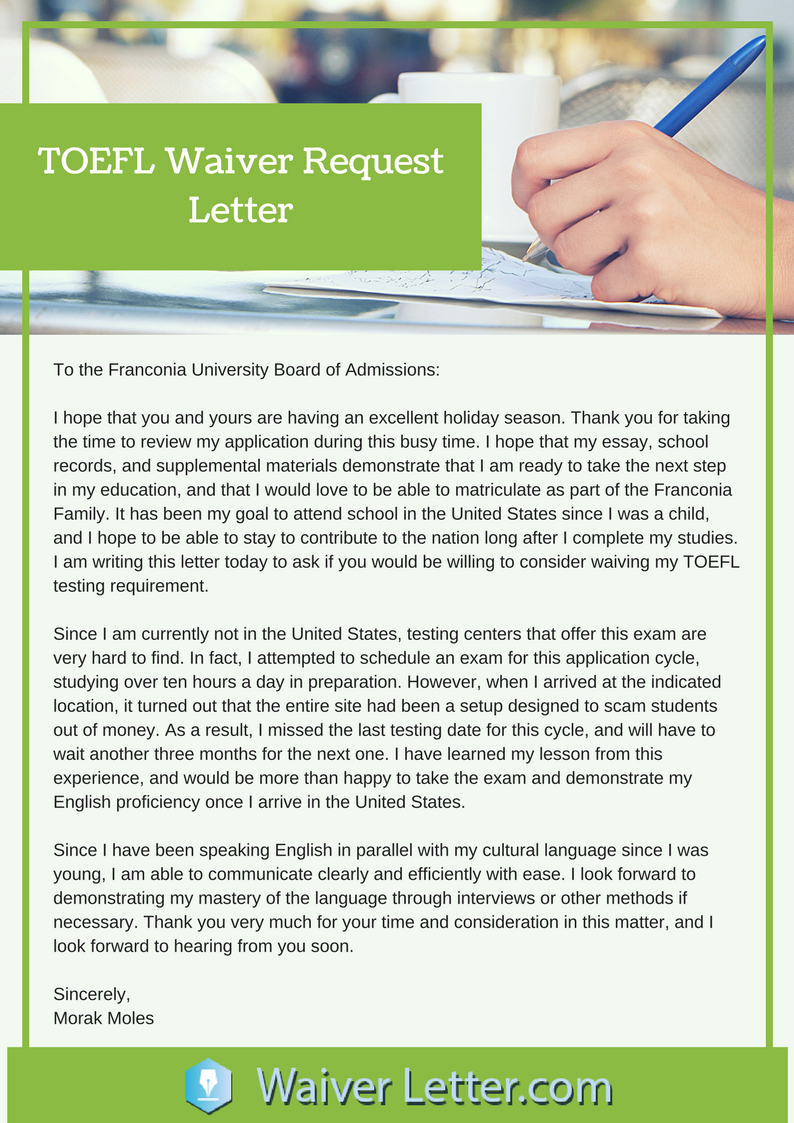 toefl waiver request letter sample