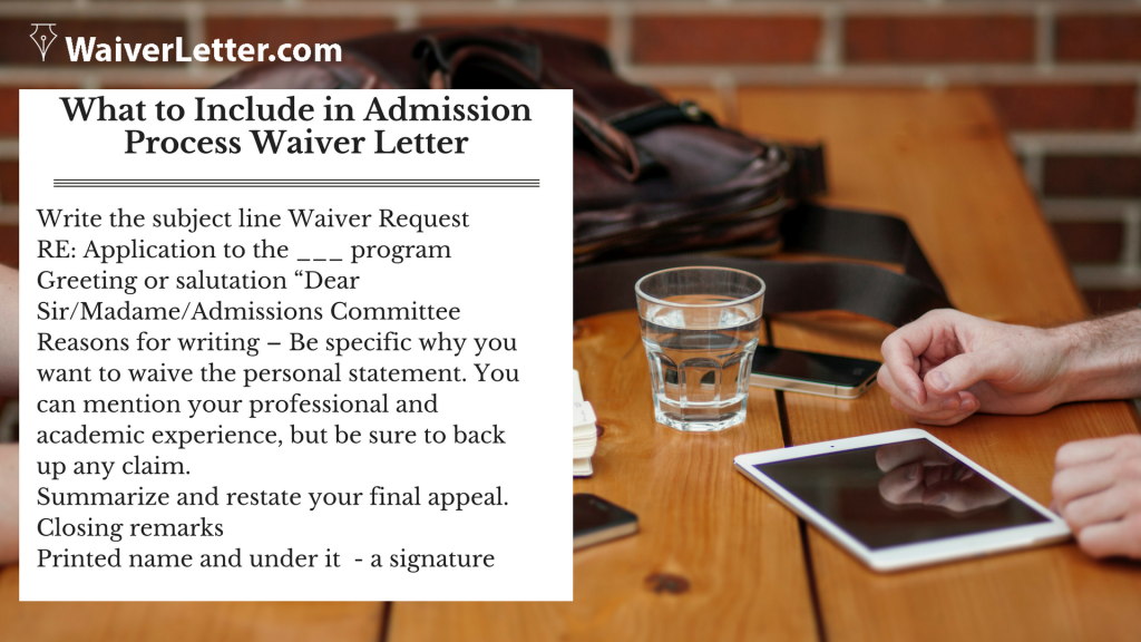 personal statement waiver letter tips