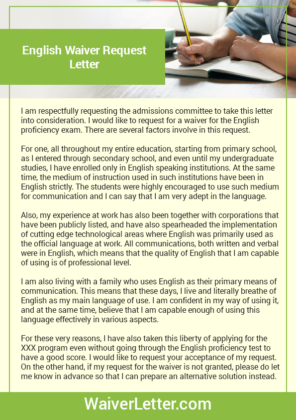 Discover about the ielts waiver and exam english waiver request sample spiritdancerdesigns Image collections