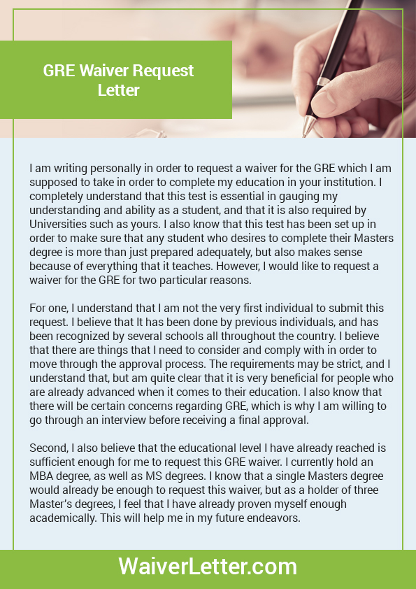 Waiver Letter Sample For Gmat Gre Toefl Amp 4 More Waivers