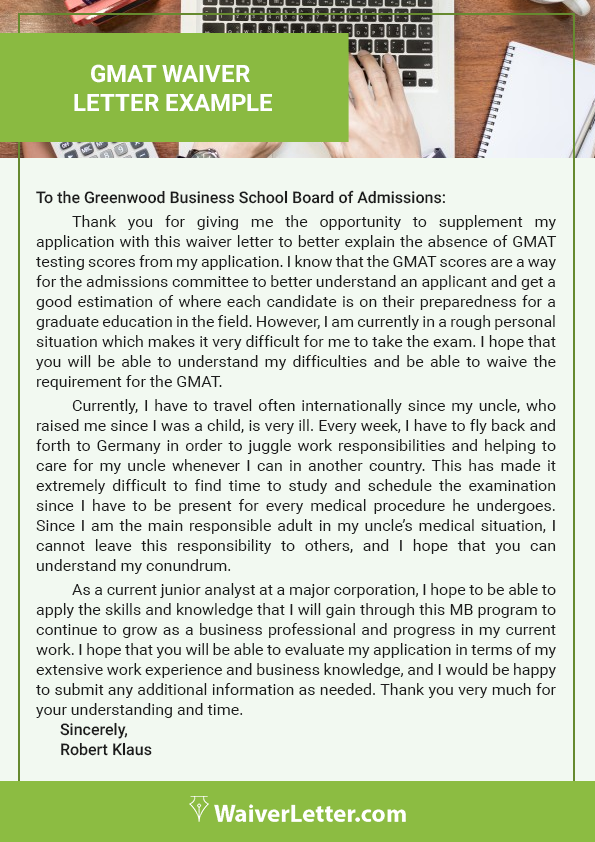 professional gmat waiver letter example