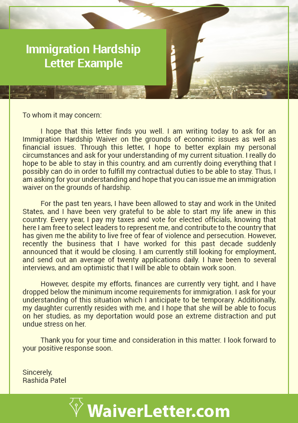 hardship letter for immigration example how to write a waiver letter for immigration free samples 21332 | immigration hardship letter example